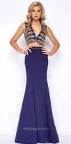 Mac Duggal Nautical Jersey Crepe Two Piece Evening Dress