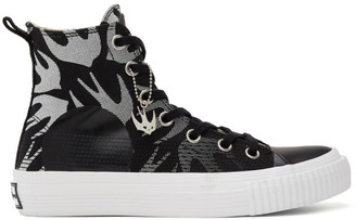 McQ Black and White Swallow Plimsoll High-Top Sneakers