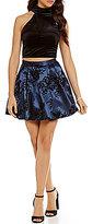 B. Darlin Mock Neck Velvet Top Floral Skirt Two-Piece Dress