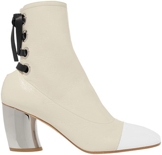 Proenza Schouler Lace-up Patent-paneled Crinkled Glossed-leather Ankle Boots