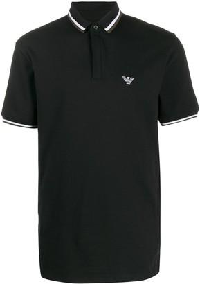 Emporio Armani striped-trim logo polo shirt