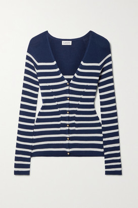 Lanvin Ribbed Striped Cashmere And Silk-blend Cardigan - Navy