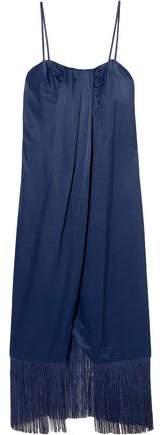 Rachel Zoe Brighton Fringe-Trimmed Draped Satin-Crepe Midi Dress