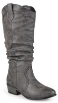 Brinley Co. Women's Wide Calf Faux Leather Slouch Riding Boots