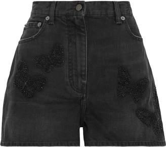 Valentino Bead-embellished Embroidered Denim Shorts
