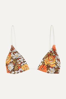 Solid & Striped + Re/done The Charlotte Floral-print Triangle Bikini Top - Orange