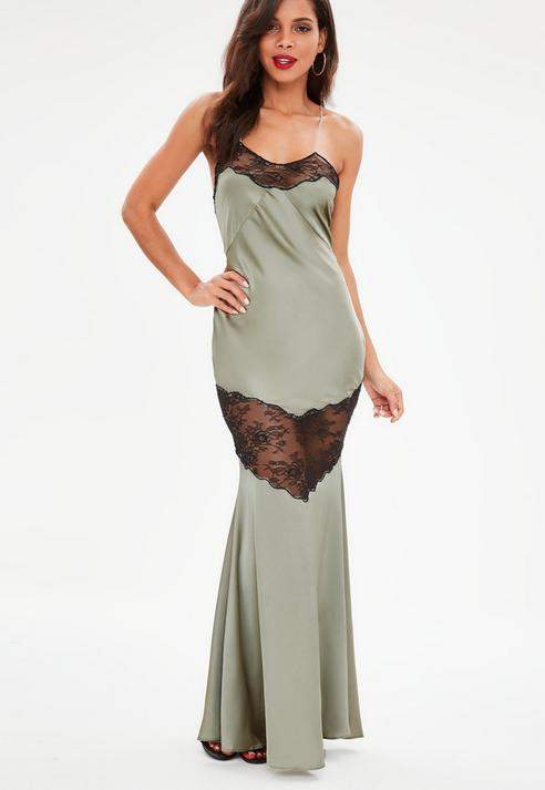 Missguided Satin Lace Strappy Maxi Dress