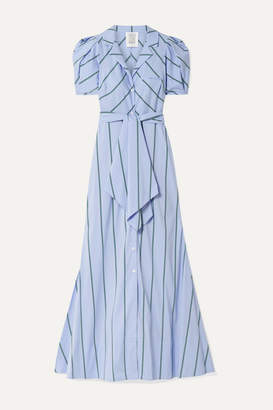 Rosie Assoulin Striped Cotton-blend Poplin Maxi Dress - Light blue