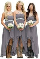 Holygift Strapless High Low Beach Bridal Bridesmaid Dresses Wedding Party Gowns