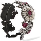 Gucci Crystal And Faux Pearl-embellished Headband - Fuchsia