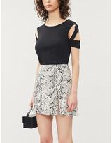 Reformation Margot snake-print crepe mini skirt