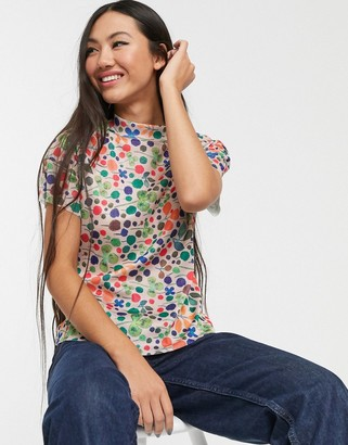 Glamorous fitted top in floal plisse