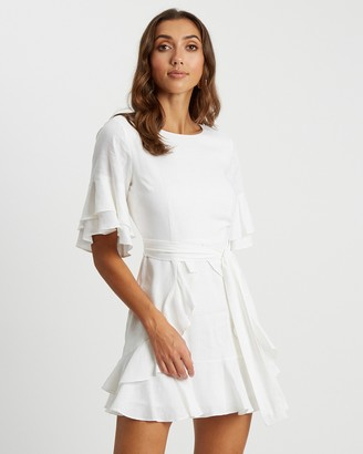 Tussah - Women's White Mini Dresses - Cecilia Ruffle Dress - Size 12 at The Iconic