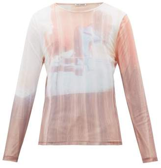 Our Legacy Delicate Tv-print Mesh Long-sleeved T-shirt - Mens - Pink White