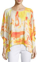 Joan Vass Tacked-Side Graphic Poncho Top, Multi Pattern