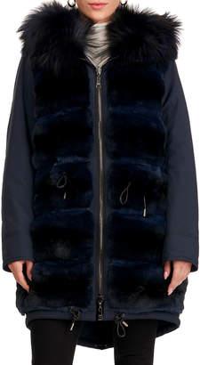 Gianfranco Ferre Reversible Chinchilla Fur Short Coat W/ Fox Fur Hood