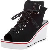 ASVOGUE Women's High Top Peep Toe Lace-up Wedge Heels Shoes
