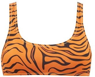 Reina Olga Rocky Tiger-print Scoop-neck Bikini Top - Orange Print
