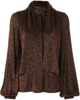 Dondup metallic wrap collar blouse