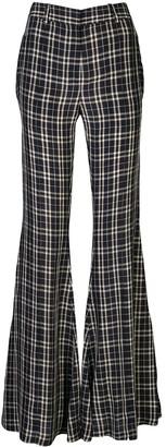 KHAITE Stockard check flared trousers