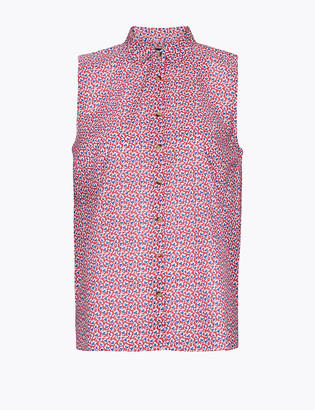 Marks and Spencer Pure Cotton Floral Relaxed Sleeveless Shirt