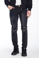 Ron Tomson Faux Leather Trimmed Distressed Zip Jean
