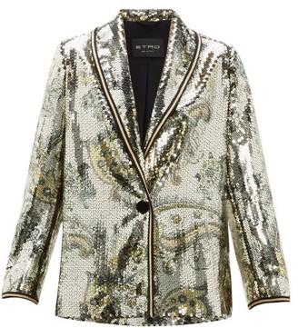 Etro Cheshire Paisley Sequin Blazer - Womens - Gold