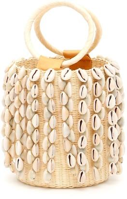 Sensi Wicker Mini Bag With Cowrie Shells