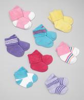 Luvable Friends Pink Solid & Stripe Cuff Socks Set