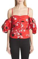 Isa Arfen Ruched Bubble Sleeve Top