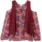 Speechless Magenta Geometric Cold-Shoulder Top, Lace Vest & Necklace - Girls
