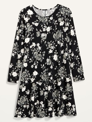 Old Navy Floral-Print Jersey-Knit Swing Dress for Women