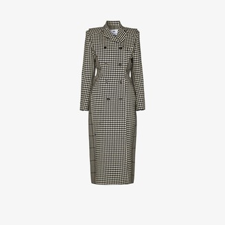 Marine Serre Double-Breasted Houndstooth Tailored Coat