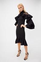Coast Scuba High Neck Lace Insert Ruffle Detail Dress