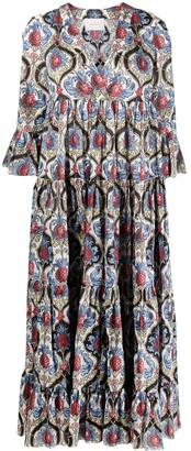 La DoubleJ Abstract-Print Tiered Maxi Dress