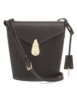 Calvin Klein Statement Series Lock Flap Daytonna Leather Bucket Crossbody Bag