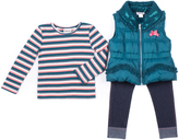 Little Lass Teal Bow Puffer Vest Set - Infant, Toddler & Girls