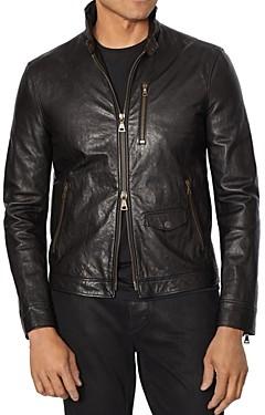 John Varvatos Collection Garment-Wash Slim Fit Leather Jacket