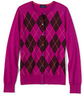 Classic Women's Petite Supima Argyle Cardigan Sweater-Raspberry Argyle
