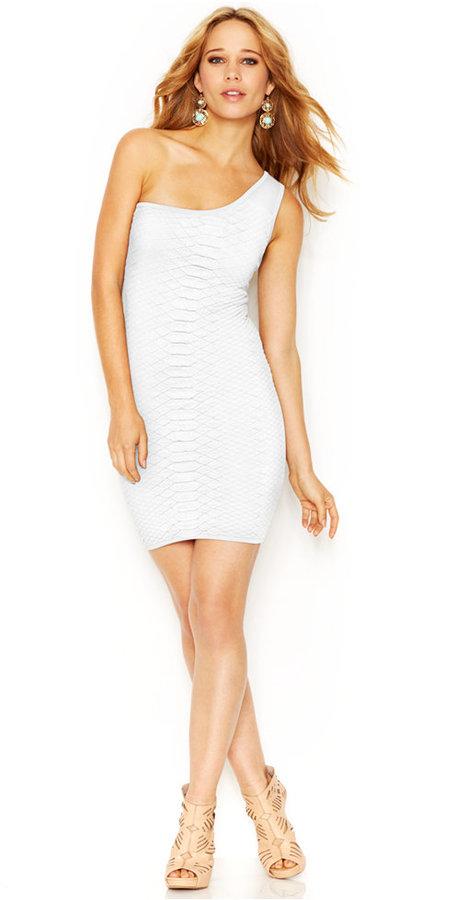 GUESS One-Shoulder Snakeskin-Pattern Bodycon Dress