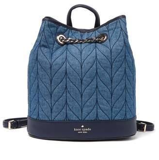 Kate Spade Leather Briar Lane Quilted Denim Bucket Backpack