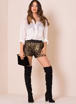 Missy Empire Angelika Gold Crochet Front Shorts
