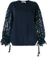 See by Chloe lace sleeve oversized sweatshirt