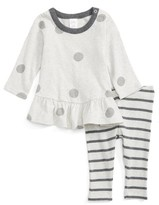 Nordstrom Infant Girl's Polka Dot Peplum Tunic & Stripe Leggings Set