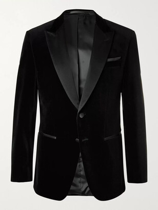 HUGO BOSS Helward Slim-Fit Silk Satin-Trimmed Cotton-Velvet Tuxedo Jacket - Men - Black