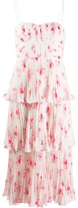 Self-Portrait Floral Print Pleated Dress