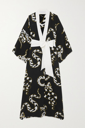 Olivia von Halle Queenie Printed Silk Crepe De Chine Robe - Black