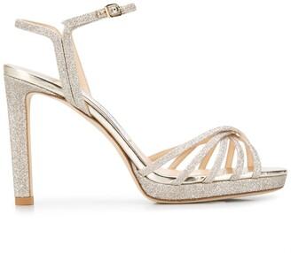 Jimmy Choo Lilah 100mm glittered sandals
