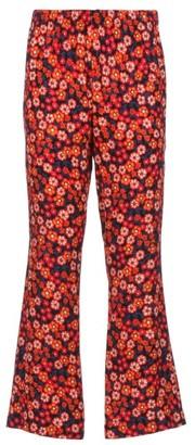 Marni Pop Garden-print Crepe Flared-leg Trousers - Black Print