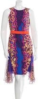 Peter Pilotto 2016 Silk-Paneled Flux Contrast Dress